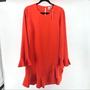 ASOS NWT Bright Orange Drop Waist Peplum Dress